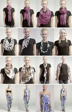 How to Tie a Scarf: 4 Scarves, 16 Ways http://blogs.nordstrom.com/fashion/4-scarves-16-ways/ via @Nordstrom