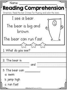 FREE Reading Comprehension Passages SET 1 - Beginning Readers