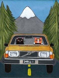 Pacific Northwest Cats Folk Art 5 x 7 Print by KilkennycatArt