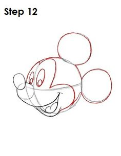 Draw Mickey Mouse Step 12