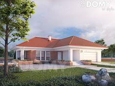 Projekt domu Aksamit 5 - wizualizacja frontowa Two Bedroom House Design, Bungalow House Design, My House Plans, Modern House Plans, Village Houses, Facade House, Apartment Design, Exterior Design, Beautiful Homes