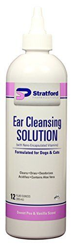 Stratford Pharmaceuticals Ear Cleansing  Drying Solution for Dogs  Cats Sweet Pea  Vanilla Scented 12oz * You can get additional details at the image link.
