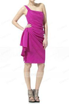 One Shoulder Graduation Dress Inviting Delicate Side-draped