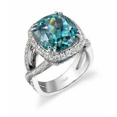 Omi Prive: Blue Zircon and Diamond Ring Style: RC1100-BZCU