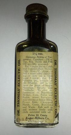 1930's Dr Thomas' Internal & External Eclectic Oil Bottle by OtterCreekAntiques, $15.95