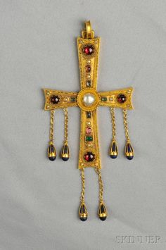 Antique 18kt Gold Gem-set Cross, set with cabochon emeralds and garnets, split pearl accents, and suspending lapis drops, bead accents, total lg. 5 in