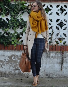 Those plaid pants and loafers are too cute, and I love this color combination.