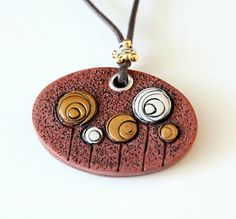Fleurs or cuivre Polymer Clay pendentif fantaisie cercles