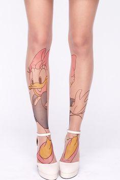 "ROMWE | ""Donald Duck"" Tattoo Tights, The Latest Street Fashion"