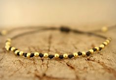 Black hand woven bracelet Gold beaded bracelet by Amoreecolore