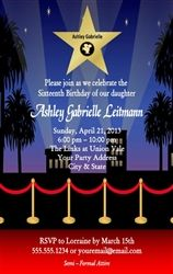 Personalized Quinceañera Birthday Party Invitation - Hollywood Movie Star, Red Carpet, Oscar Awards Theme