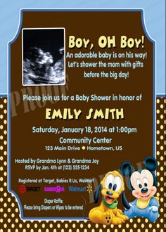 Personalized Baby Mickey Mouse & Pluto Sonogram Invitations