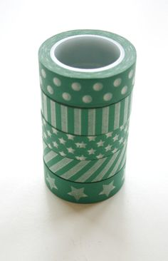 Green Washi Tape Set, 5 rolls for $14.65  {In the Clear}