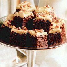 Praline-Iced Brownies (of course you could use a packaged brownie mix and simply make the praline topping).  Either way this sounds decadent.