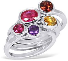 FINE JEWELRY Multi Gemstone Sterling Silver Stackable Rings