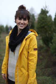 Hello, yellow! Anthropologie yellow rain coat, perfect for Portland