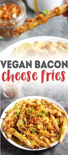 Vegan Bacon Cheese Fries! Healthy vegan meal idea - oil-free. The cheese sauce is made with squash, yum! via @karissasvegankitchen