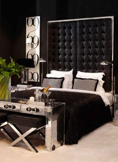 For a glamorous bedroom idea without investing in a whole new bed, look for a high impact headboard instead to give an existing divan a stylish update. Dutch brand, Eichholtz, specialise in show stopping furnishings and the Shangri-La Headboard will transform your bedroom instantly.