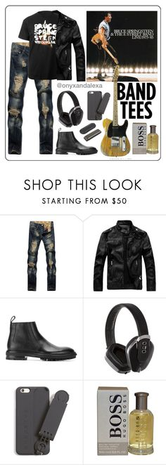 """""""Bruce Springsteen """"The Boss"""" & The E Street Band   Band T-Shirts"""" by onyxandalexa ❤ liked on Polyvore featuring Lanvin, Pryma, Snapstyk, HUGO, men's fashion and menswear"""