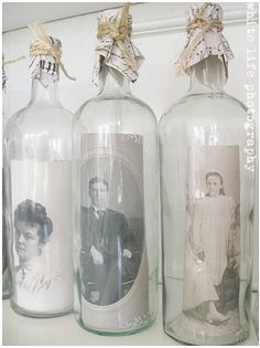 ❥ Recycling of old white glass bottles - My little gallery of ancestral portraits