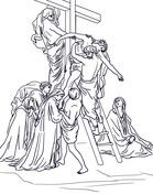 Thirteenth Station - Jesus is Taken Down from the Cross Coloring page from Good Friday category. Select from 20820 printable crafts of cartoons, nature, animals, Bible and many more. Cross Coloring Page, Jesus Coloring Pages, School Coloring Pages, Easter Coloring Pages, Free Printable Coloring Pages, Coloring Book Pages, Flower Line Drawings, Bible Story Crafts, Religion Catolica