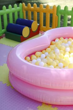 Ball Pit from a Sweet Swan 1st Birthday Party on Kara's Party Ideas | KarasPartyIdeas.com (15)