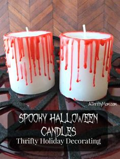 spooky Halloween candle, #candle, #halloween, #spooky, #bloody, #crafts, #thriftycrafts, #holidaydecorations, #thriftydecorating, #holidaydecorating