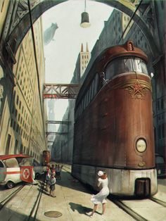 der Tod eines Pioniers by Waldemar-Kazak train trolley ambulance city street accident landscape location environment architecture | Create your own roleplaying game material w/ RPG Bard: www.rpgbard.com | Writing inspiration for Dungeons and Dragons DND D&D Pathfinder PFRPG Warhammer 40k Star Wars Shadowrun Call of Cthulhu Lord of the Rings LoTR + d20 fantasy science fiction scifi horror design | Not Trusty Sword art: click artwork for source