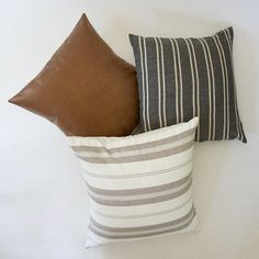Dark Grey, Faux Leather, and White Southwestern Stripes - 3 Piece Pillow Set Dark Grey Sectional, Dark Brown Couch, Grey And Brown Living Room, Living Room Decor With Grey Couch, Grey And White Room, Manly Living Room, Brown Couch Pillows, Living Room Pillows, Grey Leather Couch
