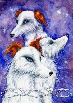 Cwn Annwn Fairy Dogs Art Print - based on welsh legend Wooden Owl, Owl Ornament, Mixed Media Artwork, Coloured Pencils, Heart Cards, Underworld, Dog Art, Welsh, Folklore