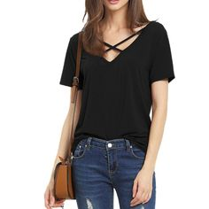 Item specifics Item Type: Tops Tops Type: Tees Gender: Women Decoration: None Sleeve Style: Regular Pattern Type: Solid Style: Casual Material: Polyester,Spandex Collar: V-Neck Sleeve Length: Short