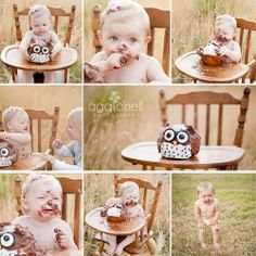 Children's photography - First Year shoot w/ highchair and cake smash. So cute! Aga O'Neil Photography