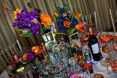 vibrant center piece flowers #wedding #flowers #decorations
