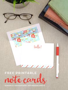Cute gift idea! Free Printable Note Cards // Set of four colorful flat cards // Designed by Elegance & Enchantment for Remodelaholic.com