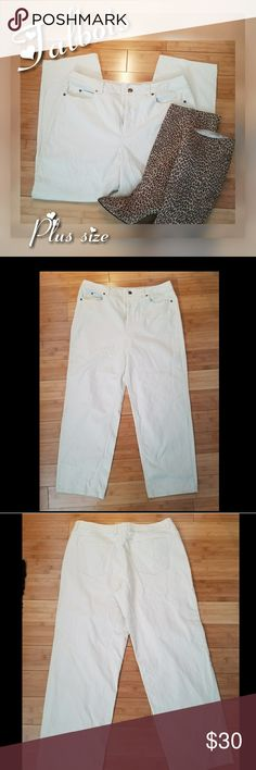 "TALBOTS Creme Stretchy Plus Size Pants Sz 16 Lovely TALBOTS softcCreme/beige color pants are in great preloved condition.  The photos are not the actual color. Hard to photo   Size 16 Waist 36"" Hips 40"" Pant leg width 10"" Full length 39""  I have another pair of jeans sz 16 in my closet  Stop by my closet for more great fashion deals and bundle for less Talbots Pants Straight Leg"