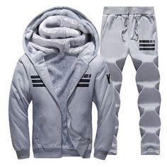 1c0330847a55 Sporting Suit Men Winter Tracksuits Gray Men S Sets Thicken Fleece Plus  Size Xxxxl Hoodies+Pants Sweat Suit Outwear Style Hoodie