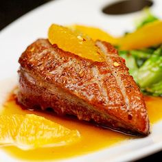 Roasted duck breast fillet with miso-orange sauce - Perfect winter wedding food Orange Sauce Recipe, Panlasang Pinoy Recipe, Roasted Duck Breast, Roast Duck, Iron Rich Foods, Duck Recipes, Recipe Details, Food And Drink, Cooking Recipes