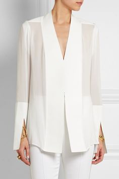 Dion Lee Cady and silk-chiffon blouse from movie Passengers by Jennifer Lawrence Mode Outfits, Fashion Outfits, Emo Fashion, Dress Fashion, Style Fashion, Womens Fashion, Mode Top, Business Outfit, White Shirts