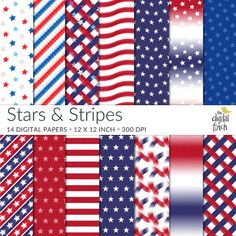 July 4th paper  Stars and Stripes Digital Papers