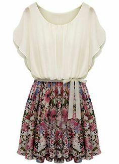 Beige Batwing Short Sleeve Floral Belt Dress