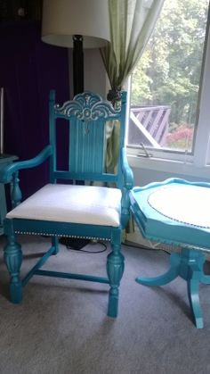 Vintage chair & antique table, hand painted in a brilliant turquoise, with faux white leather and individual nail head accents. silver gilded by hand & distressed for a really cool finish!  SOLD