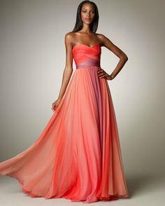ombre ruched gown | monique lhuillier