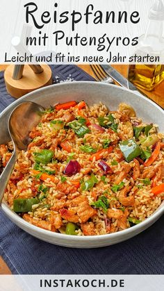Vegetable rice pan with turkey gyros - low calories - great for losing weight - . - Vegetable rice pan with turkey gyros – low calories – great for losing weight – My simple re - Rice Recipes, Healthy Dinner Recipes, Healthy Snacks, Snack Recipes, Snacks Diy, Snacks Ideas, Eating Healthy, Cooking Recipes, Vegetable Rice