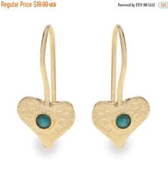 ON SALE Heart dangle earrings inlaid with a colorful gemstone ,Heart earrings, Gemstone earrings, 14K Gold plated / Sterling silver, Free Sh