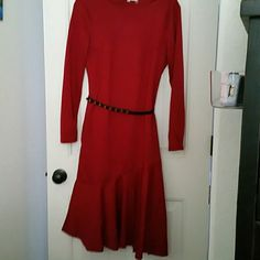 Red Long Sleeve with cha-cha style bottom This dress is from China so don't be deceived by the sizing, I am a size 16 and it does fit except in the chest where it is too small. I suggest someone with a smaller chest will find this most flattering. I'm hazarding size 12 will do best with this. Mike is Dresses Long Sleeve