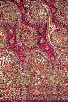 Antique gilt silver/gold brocade Indian sari