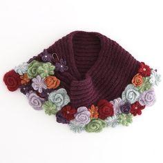 crochet flower knit scarf