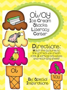 Contents: Colored ice cream scoops with colored pictures (oi/oy) Colored ice cream cone sorting mats for oi and oy Colored ice cream cones with words containing oi and oyBlack and white sorting worksheet to accompany either activity. ~~~~~~~~~~~~~~~~~~~~~~~~~~~~~~~~~~~~~~~~~~~~~~~~~~~These are a great addition to literacy centers, phonics lessons, and/or reading tutorial sessions.