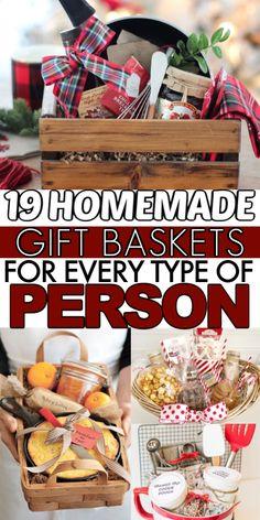 Homemade Gift Baskets, Diy Gift Baskets, Christmas Gift Baskets, Homemade Christmas Gifts, Homemade Gifts, Diy Gifts For Grandma, Wedding Gift Baskets, Gift Baskets For Women, Neighbor Gifts