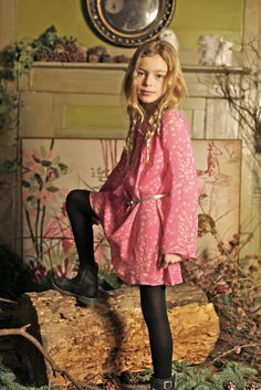 The fire place insert I Love Gorgeous winter 2012, tiny bird print flared sleeve dress for girls party wear